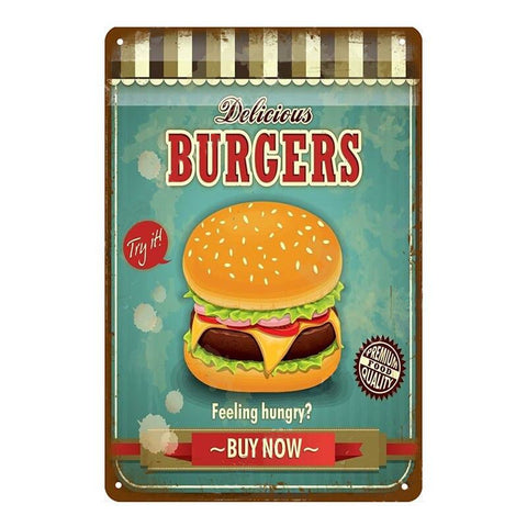 "Plaque Métal Vintage USA - ""Delicious Burgers, Feeling Hungry ?"""
