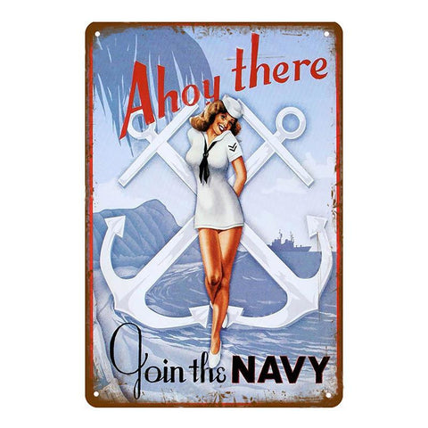 "Plaque Métal Vintage Pin Up - ""Ahoy There, Join The Navy"""