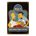 "Plaque Métal Vintage Les Simpson - ""Moe's, The Tavern Where Nobody Knows Your Name"""