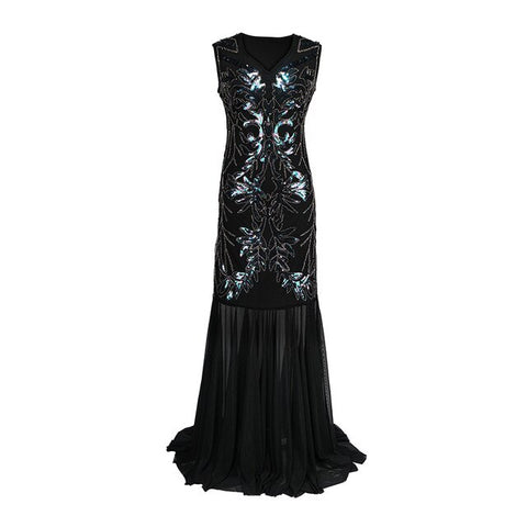 robe vintage charleston longue noire face mermaid