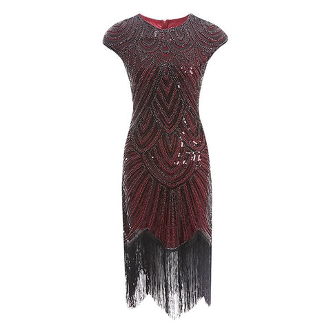 robe vintage flapper rouge face edith