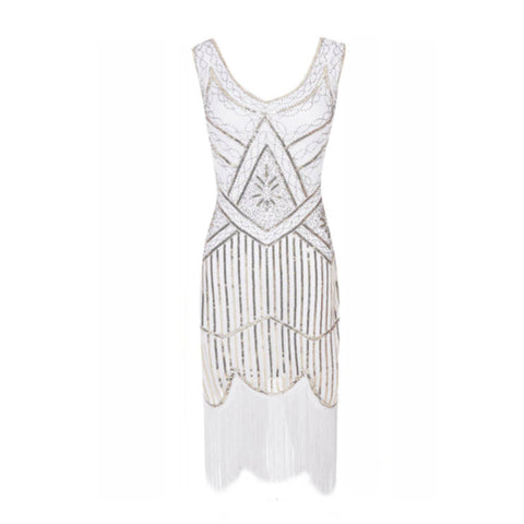 robe vintage flapper blanche face triangle