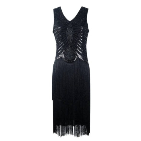 robe vintage flapper noire face jane