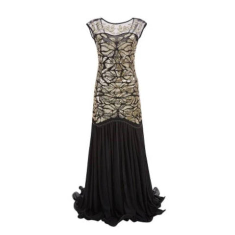 robe vintage flapper longue noir or face sparkle