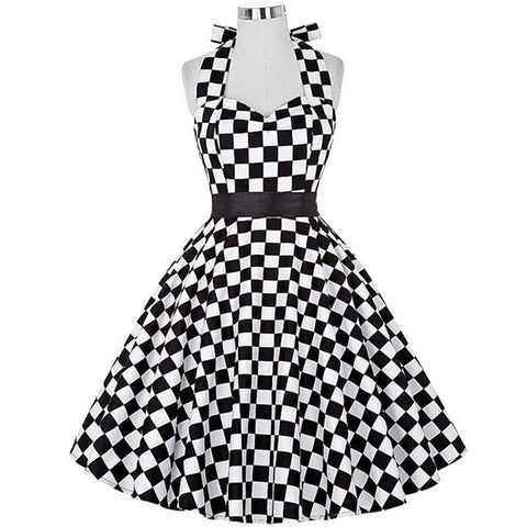 Robe Pin Up Rockabilly Blanche à Carreaux - Hepburn | Vintage Lifestyle