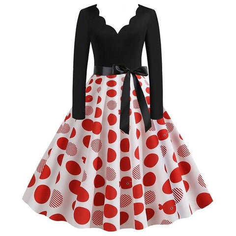 Robe Pin Up Rockabilly Blanche à Pois Rouges - Lucy | Vintage Lifestyle