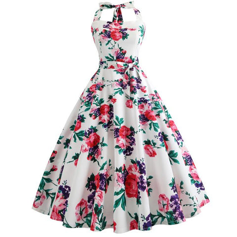 Robe Pin Up Rockabilly Blanche Fleurie - Hepburn | Vintage Lifestyle