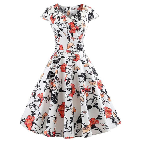 Robe Pin Up Rockabilly Blanche Fleurie - Retro 50's | Vintage Lifestyle