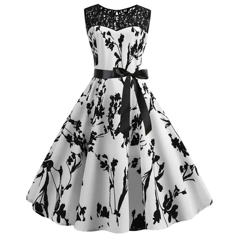Robe Pin Up Rockabilly Blanche Fleurie - Rose Noire | Vintage Lifestyle