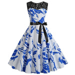 Robe Pin Up Rockabilly Bleue Ciel à Motifs Abstraits - Swan | Vintage Lifestyle