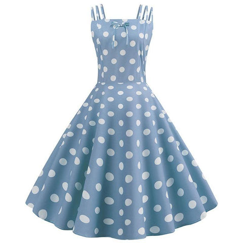 Robe Pin Up Rockabilly Bleue Ciel à Pois Blancs - Melissendre | Vintage Lifestyle