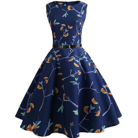 Robe Pin Up Rockabilly Bleue Fleurie - Katherine | Vintage Lifestyle