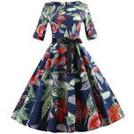 Robe Pin Up Rockabilly Bleue Marine à Motifs Feuillage - Allie | Vintage Lifestyle