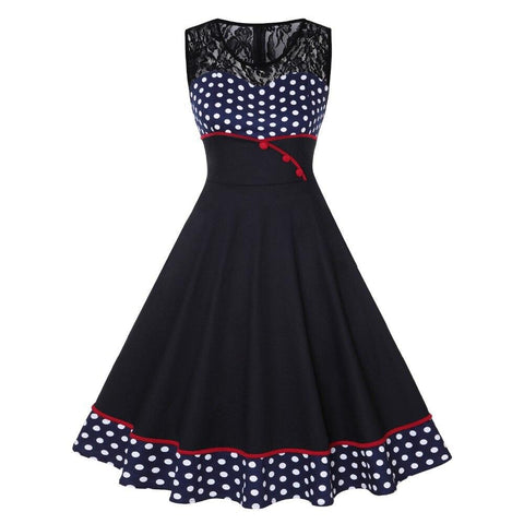 Robe Pin Up Rockabilly Bleue Marine à Pois Blancs - Cesira | Vintage Lifestyle