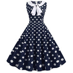 Robe Pin Up Rockabilly Bleue Marine à Pois Blancs - Cherry | Vintage Lifestyle