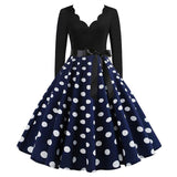 Robe Pin Up Rockabilly Bleue Marine à Pois Blancs - Lucy | Vintage Lifestyle