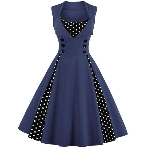 Robe Pin Up Rockabilly Bleue Marine à Pois Blancs - Suzanne | Vintage Lifestyle