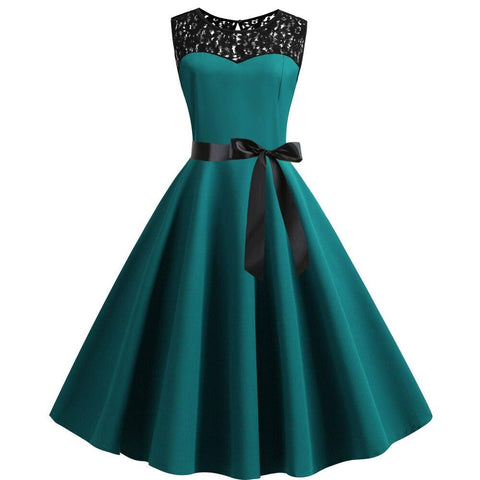 Robe Pin Up Rockabilly Bleue Turquoise Col en Dentelle - Swan | Vintage Lifestyle