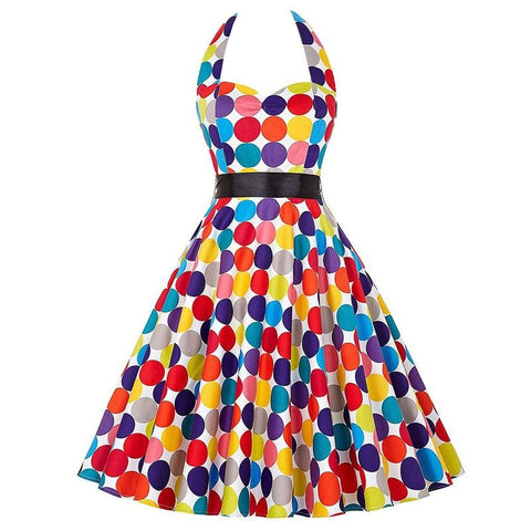 Robe Pin Up Rockabilly Multicolore à Pois - Hepburn | Vintage Lifestyle