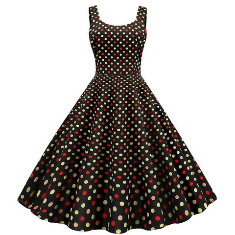 Robe Pin Up Rockabilly Multicolore à Pois - Melissendre | Vintage Lifestyle