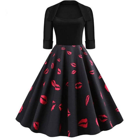 Robe Pin Up Rockabilly Noire à Bisous - Ann | Vintage Lifestyle