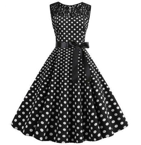 Robe Pin Up Rockabilly Noire à Pois Blancs - Freda | Vintage Lifestyle