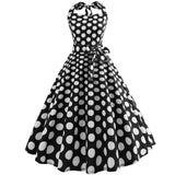 Robe Pin Up Rockabilly Noire à Pois Blancs - Hepburn | Vintage Lifestyle