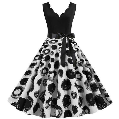 Robe Pin Up Rockabilly Noire à Pois Noirs - Bethany | Vintage Lifestyle