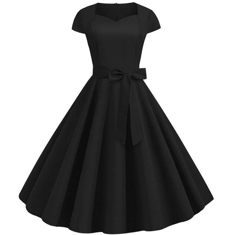 Robe Pin Up Rockabilly Noire Col Carré - Sadie | Vintage Lifestyle