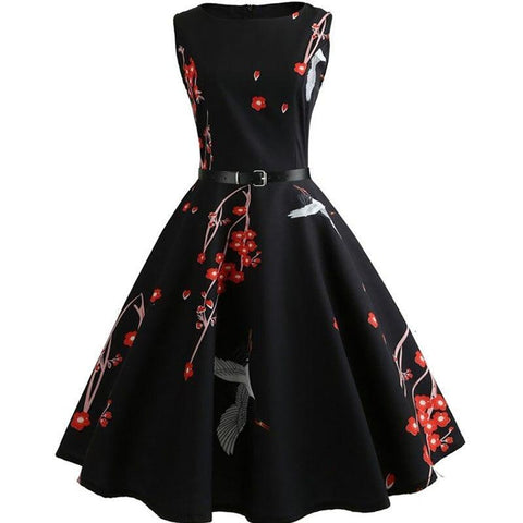 Robe Pin Up Rockabilly Noire Fleurie - Katherine | Vintage Lifestyle