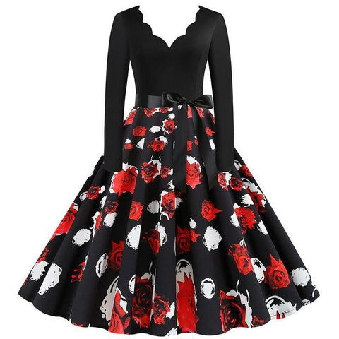 Robe Pin Up Rockabilly Noire Fleurie - Roses d'Hiver | Vintage Lifestyle