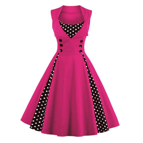 Robe Pin Up Rockabilly Rose à Pois Blancs - Suzanne | Vintage Lifestyle