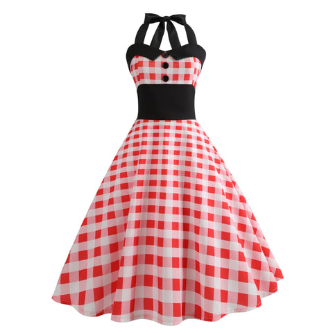 Robe Pin Up Rockabilly Rouge à Carreaux - 60's | Vintage Lifestyle