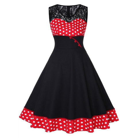 Robe Pin Up Rockabilly Rouge à Pois Blancs - Cesira | Vintage Lifestyle