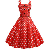 Robe Pin Up Rockabilly Rouge à Pois Blancs - Lily | Vintage Lifestyle