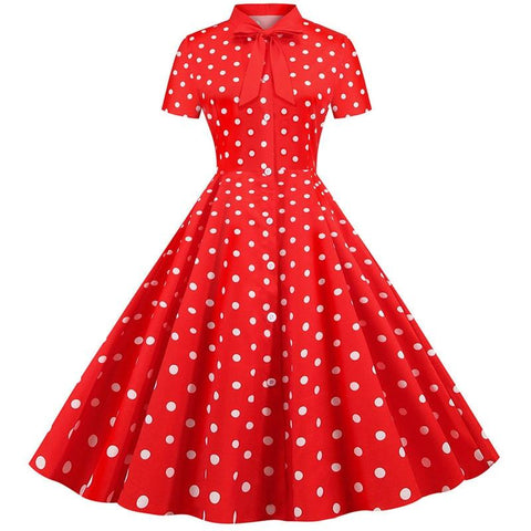 Robe Pin Up Rockabilly Rouge à Pois Blancs - Michelle | Vintage Lifestyle