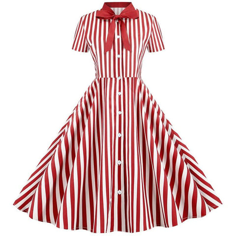 Robe Pin Up Rockabilly Rouge à Rayures - Michelle | Vintage Lifestyle
