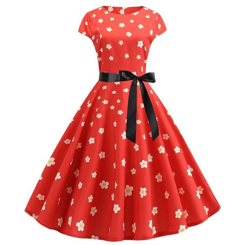 Robe Pin Up Rockabilly Rouge Fleurie - Helena | Vintage Lifestyle