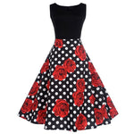 Robe Pin Up Rockabilly Rouge Fleurie - Kacee | Vintage Lifestyle