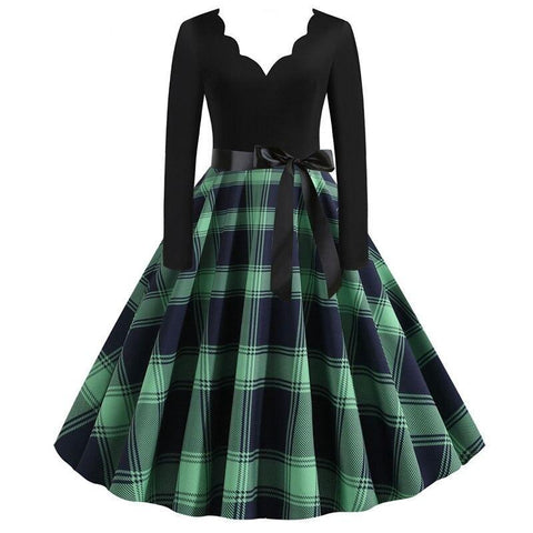Robe Pin Up Rockabilly Verte à Plaid - Lucy | Vintage Lifestyle