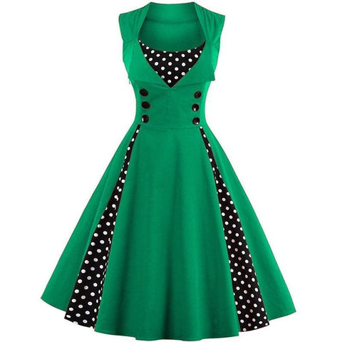 Robe Pin Up Rockabilly Verte à Pois Blancs - Suzanne | Vintage Lifestyle