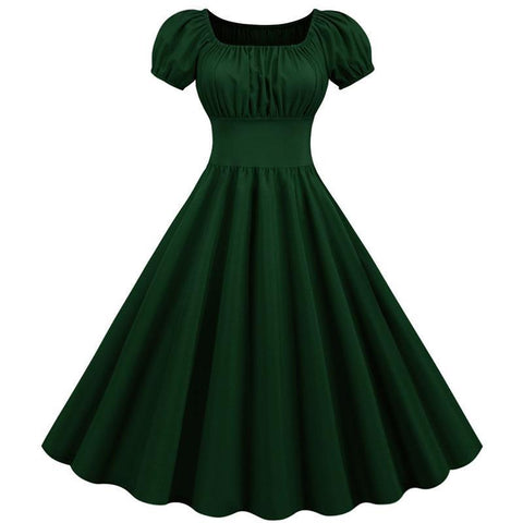 Robe Pin Up Rockabilly Verte Col Carré - Madison | Vintage Lifestyle