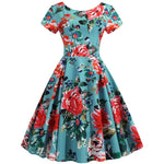 Robe Pin Up Rockabilly Verte Fleurie - Rose | Vintage Lifestyle
