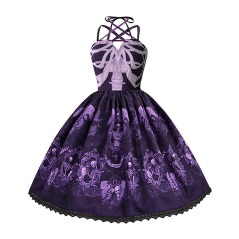 Robe Pin Up Rockabilly Violette à Têtes de Mort - Gothic | Vintage Lifestyle