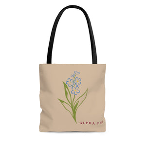 "Alpha Phi ""Forget Me Not"" Tote Bag"