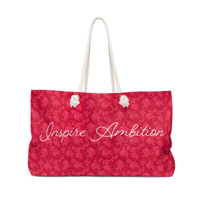 "Alpha Omicron Pi ""Inspire Ambition"" Rose Pattern Weekender Bag"