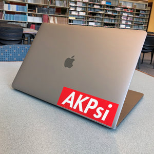 "Alpha Kappa Psi ""AKPsi"" Box Logo Decal (Red and White)"