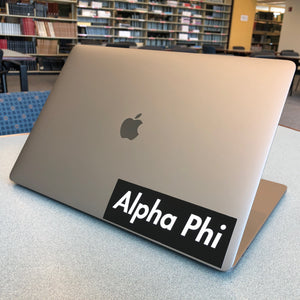 Alpha Phi Box Logo Decal (Black and White)