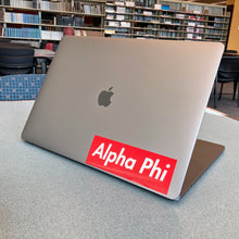 Load image into Gallery viewer, Alpha Phi Box Logo Decal (Red and White)