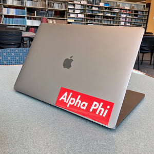 Alpha Phi Box Logo Decal (Red and White)